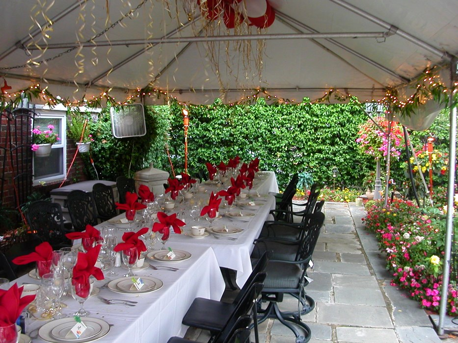 Setting tables for a Birthday party