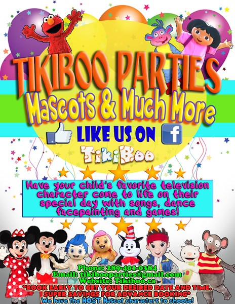 Tikiboo Parties - Costumed Character - Brampton, ON