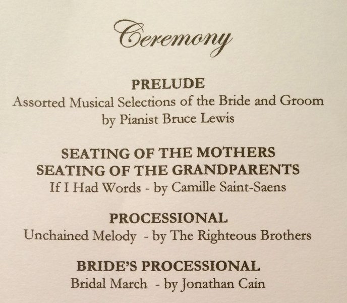 June Wedding Ceremony Program