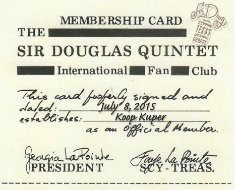 Sir Douglas Quintet Membership Card