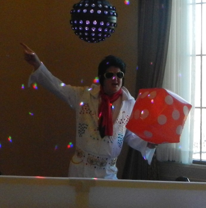 In Elvis costume at casino party