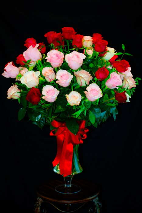 50 Mix Color Rose Arrangement