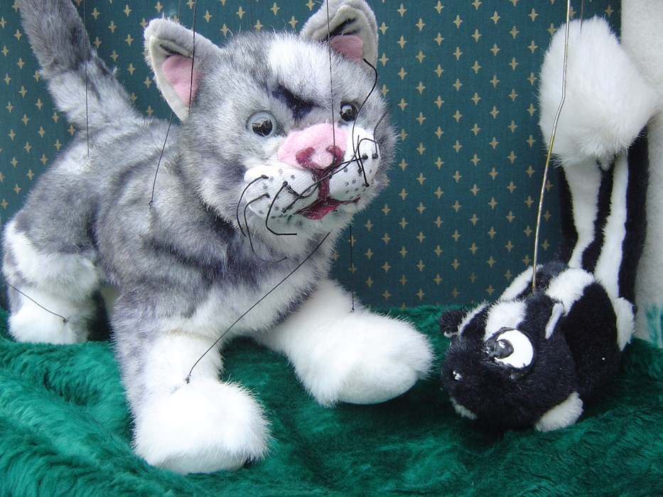 Kitty and Skunky  marionettes