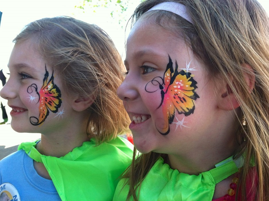 Butterfly face paint for cheek or a
