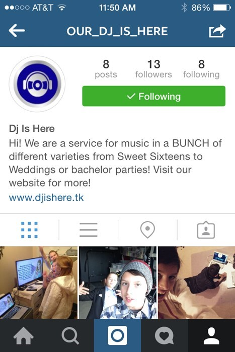 Instagram page @ our_dj_is_here
