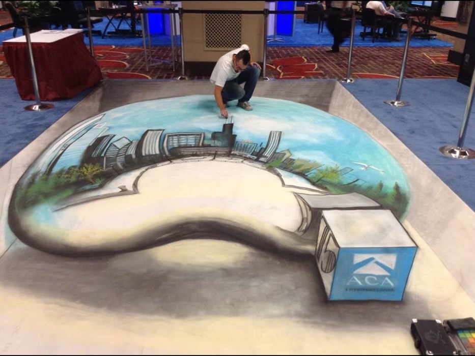 "3D chalk drawing of Chicago ""Bean"""