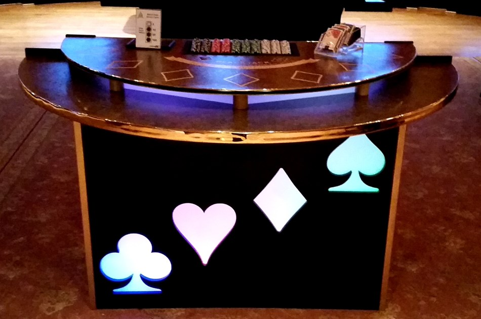 Beautiful LED lit Black Jack Tables