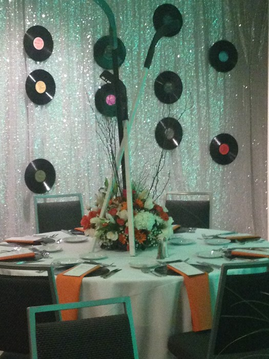 sequin backdrop, disco theme party