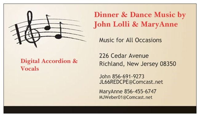 Dinner & Dance Music by John Lolli & MaryAnn - Accordion Player - Richland, NJ