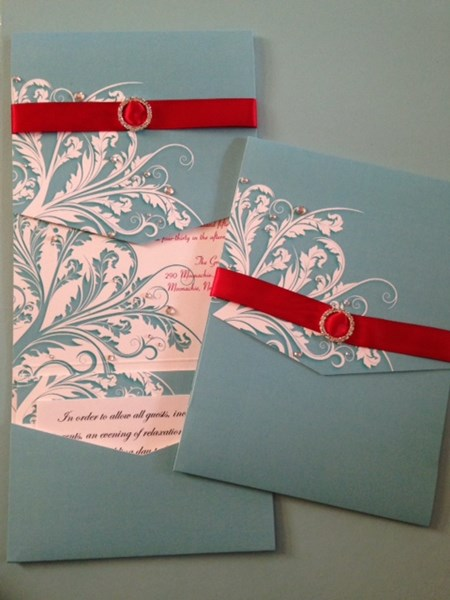 Invitations with customized bling.
