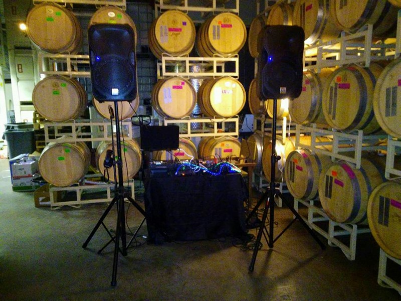 Setting up in a winery.