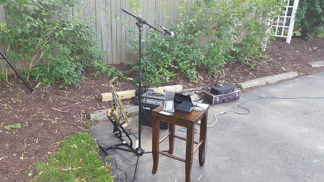 My setup for a solo backyard party
