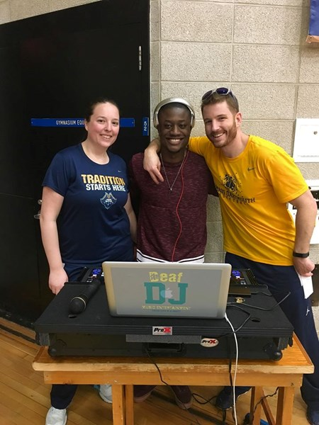 DJ at Umass Dartmouth's Pep Rally