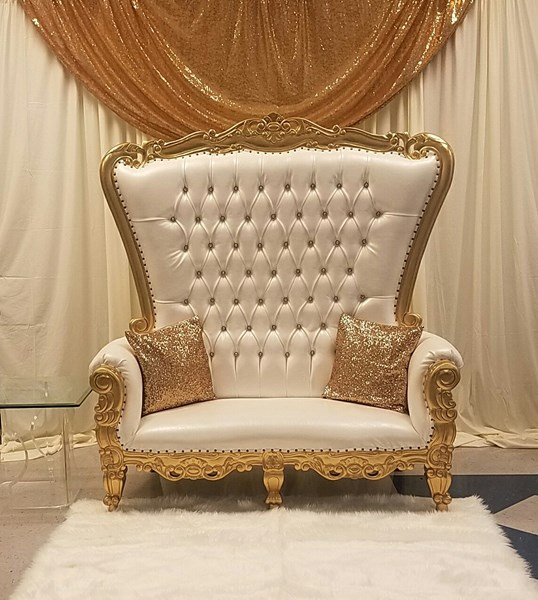 Throne Chair with backdrop and rug