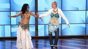 Teaching Ellen to bellydance