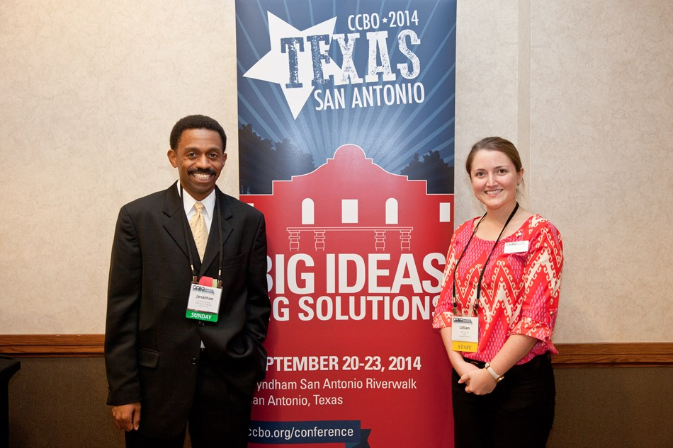 With conference organizer, Texas