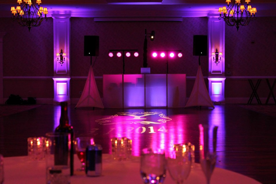 Uplighting, monogram, wedding