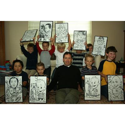 Caricatures at a birthday party