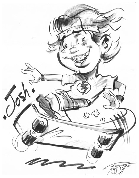 Caricature with full body and hobby