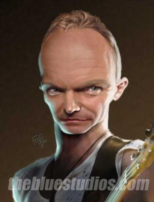 Hyper-realistic caricature of Sting