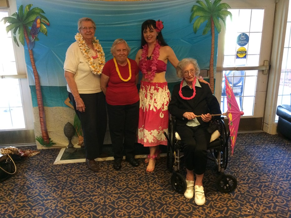 After hula show at a nursing home.